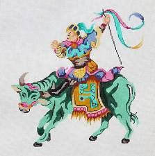 Canvas~Imperial Warrior on Water Buffalo LG. handpainted Needlepoint Canvas Patti Mann