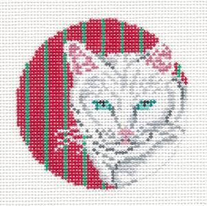 "Round~3"" White Cat on Red Ornament 18M handpainted Needlepoint Canvas~by Needle Crossings"