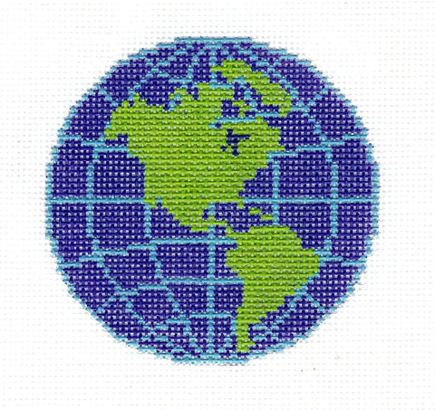 "Round~LEE World Globe Planet Design handpainted Needlepoint Canvas 3"" Rd. Ornament"