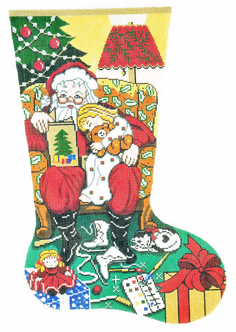 Stocking~ Full Size Story Time ~ Girls handpainted Needlepoint Canvas