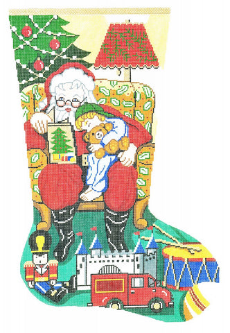 Stocking~ Full Size Story Time ~ Boys handpainted Needlepoint Canvas