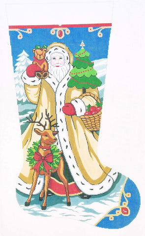 Stocking~ Full Size Elegant Santa #2 handpainted Needlepoint Canvas
