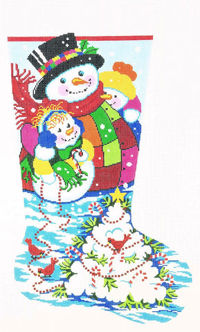 Stocking~ Full Size Snowball Tree handpainted Needlepoint Canvas