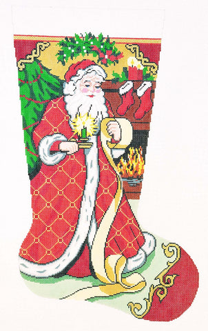 Stocking~ Full Size Santa with List handpainted Needlepoint Canvas