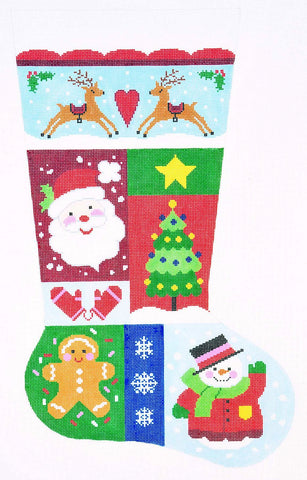 Stocking~ Full Size Christmas Sampler #1 handpainted Needlepoint Canvas