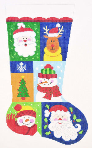 Stocking~ Full Size Christmas Sampler #2 handpainted Needlepoint Canvas