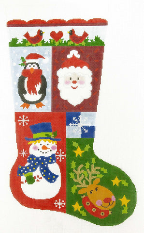 Stocking~ Full Size Christmas Sampler #4 handpainted Needlepoint Canvas