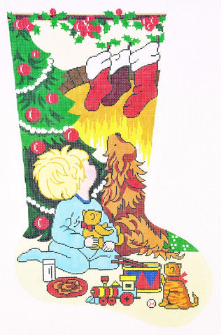 Stocking~ Full Size Looking for Santa ~ Boys handpainted Needlepoint Canvas