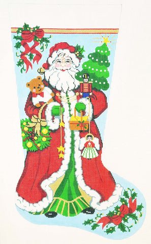 Stocking~ Full Size Happy Santa handpainted Needlepoint Canvas