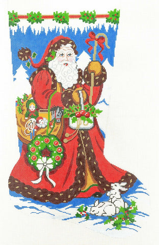 Stocking~ Full Size Strolling Santa #2 handpainted Needlepoint Canvas