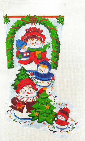 Stocking~ Full Size Snow Fun handpainted Needlepoint Canvas