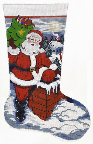 Stocking~ Up on the Rooftop Full Size Stocking handpainted Needlepoint Canvas by LEE Needle Art
