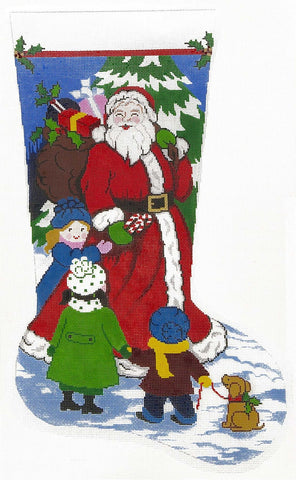Stocking~ Full Size Santa's Got Candy handpainted Needlepoint Canvas