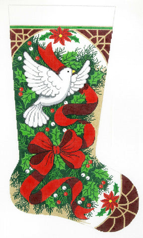 Stocking~ Full Size Christmas Holly with Dove handpainted Needlepoint Canvas