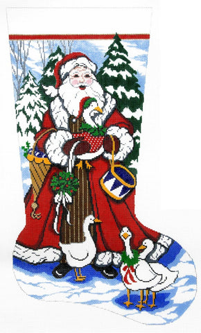 Stocking~ Full Size Santa with Geese handpainted Needlepoint Canvas