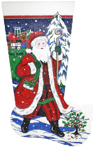 Stocking~ Full Size Santa on His Way handpainted Needlepoint Canvas