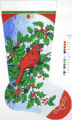 Stocking~ Full Size Cardinal & Holly handpainted Needlepoint Canvas