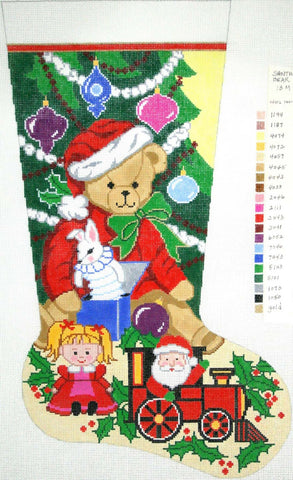 Stocking~ Full Size Santa Bear handpainted Needlepoint Canvas