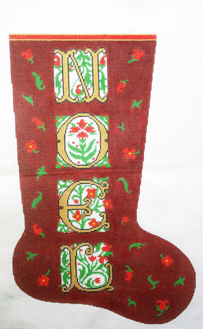 Stocking~ Full Size NOEL handpainted Needlepoint Canvas