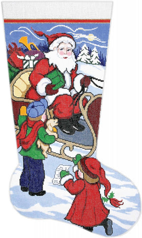 Stocking ~ Here's My List Santa Full Size handpainted Needlepoint Stocking Canvas