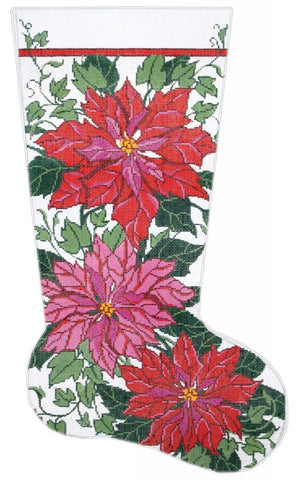 Stocking~ Full Size Poinsettia & Ivy handpainted Needlepoint Canvas