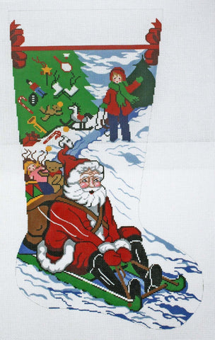 Stocking~ Full Size Santa Sledding handpainted Needlepoint Canvas