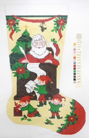 Stocking~ Full Size Santa's List handpainted Needlepoint Canvas