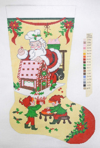 Stocking~ Full Size Gingerbread Santa handpainted Needlepoint Canvas