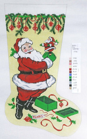 Stocking~ Full Size Santa with Mini handpainted Needlepoint Canvas