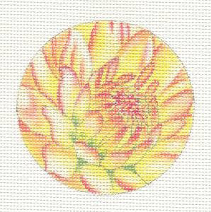 "Round~3""Golden Chrysanthemum handpainted Needlepoint Canvas~ By Lani"
