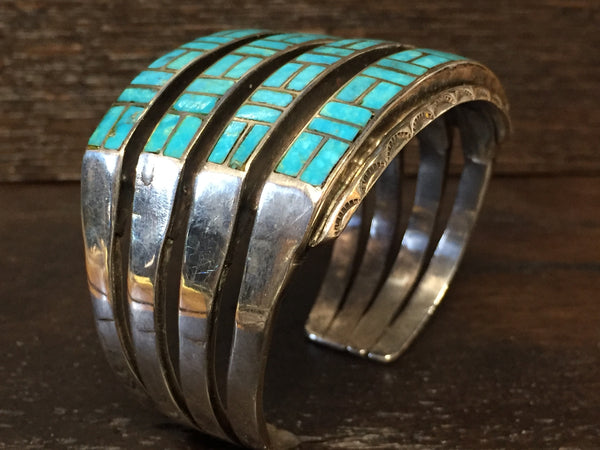 Amazing 1940's Zuni 4 row inlay cuff.
