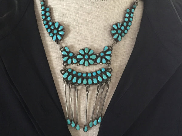 Zuni Pedipoint Floral Necklace