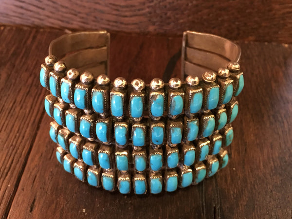 Zuni four row turquoise rectangles