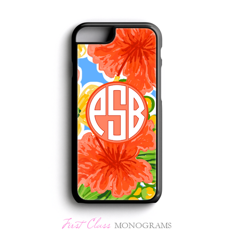 Tracey Gurley Coral Hibiscus Monogram Phone Case