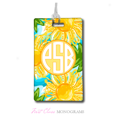 Tracey Gurley Bright Sunflowers Monogram Luggage Tag