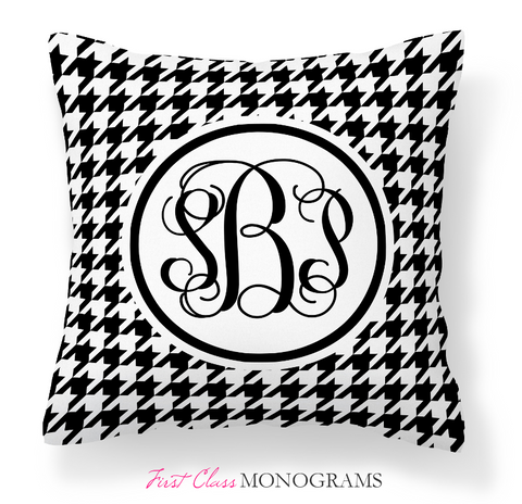 Classic Houndstooth Script Monogram Throw Pillow