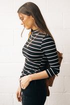 This Chic Black And White Mock Neck Top-FINAL SALE