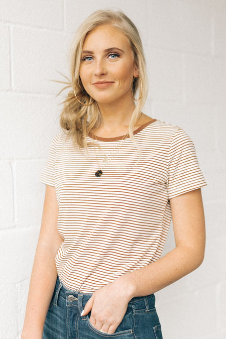 Always Ready Stripe Tee in Brown Bohme