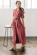 maroon collared dress bohme