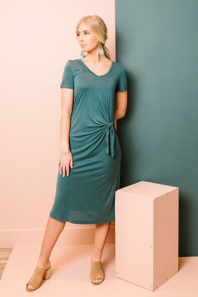 Staycation Side Knot Midi Dress in Teal Bohme