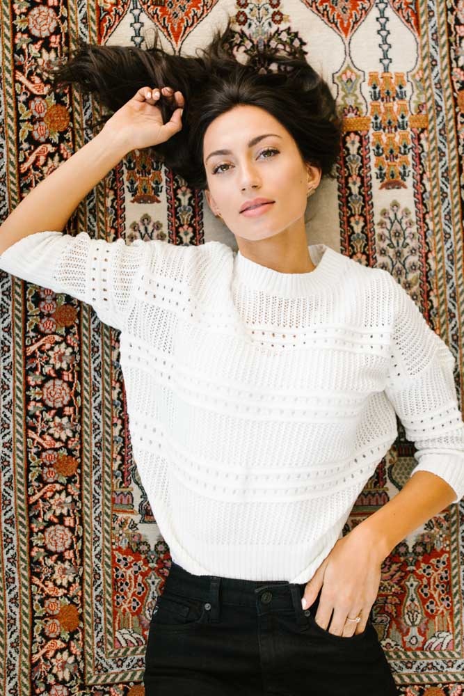 Stitched With Love Sweater in Ivory Bohme