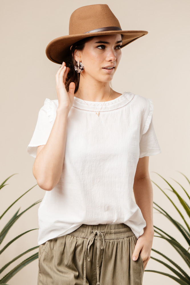 white ruffle top bohme