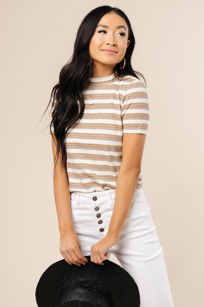 Mock Neck Striped Tee Bohme