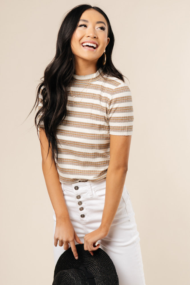Striped Tee Mock Neck Bohme