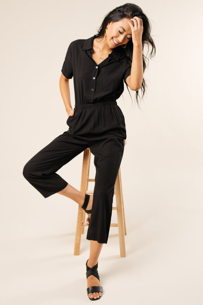 black jumpsuit with pockets bohme