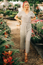 ivory jumpsuit with stripes bohme
