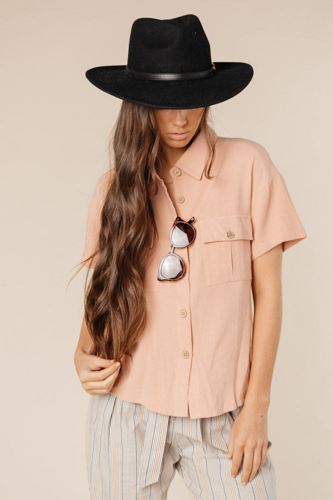 The Rosemary Button Down Top with Pockets in Blush bohme