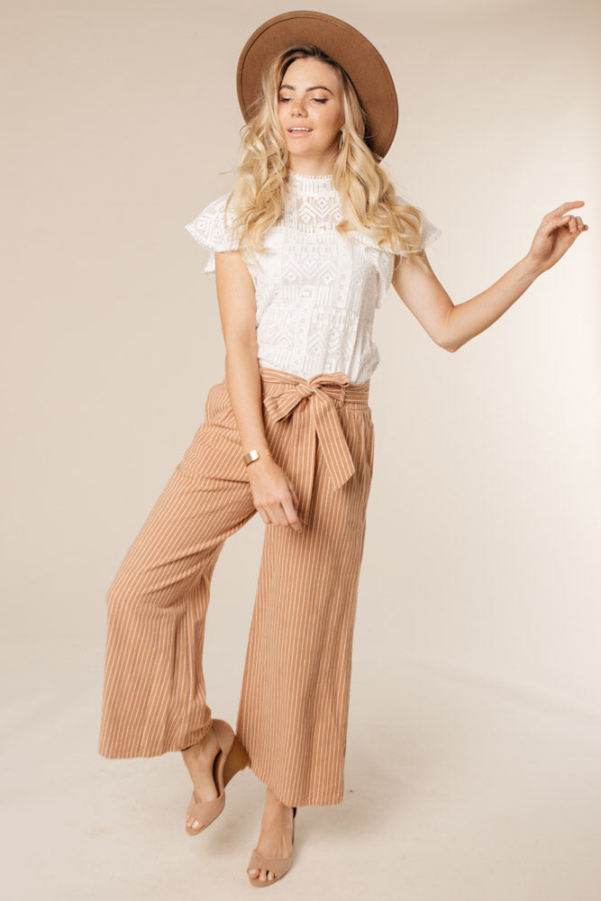 Caramel Stripe Wide Leg Bottoms-FINAL SALE