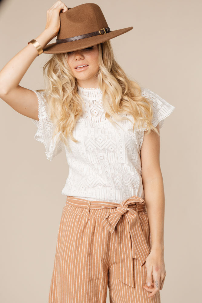 Butterfly Effect Mock Neck Lace Top