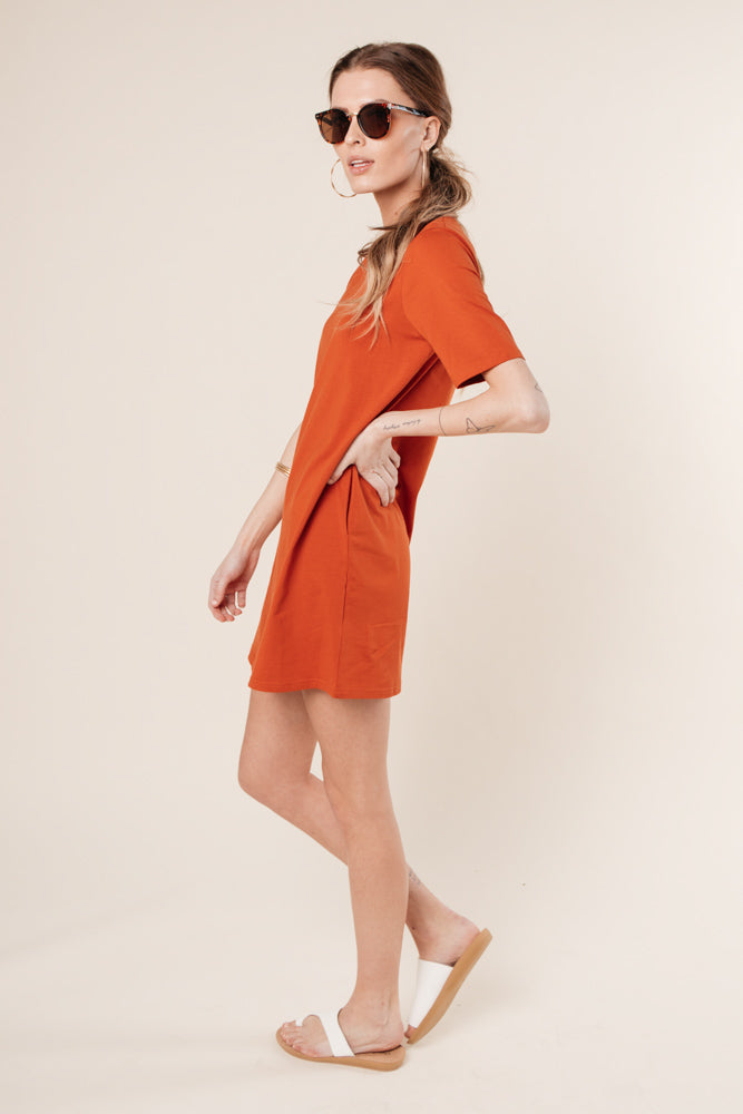 rust t-shirt dress bohme